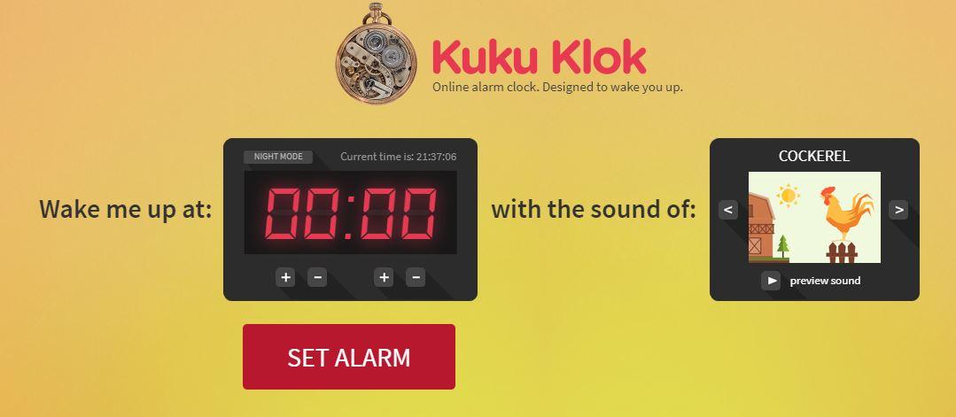 kuku klok online wekker zetten